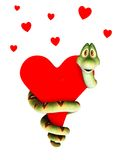 Cartoon snake in love, cuddling a heart. Stock Image