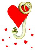 Cartoon snake in love, hanging from a heart. Royalty Free Stock Photography
