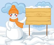 Cute cartoon snowman and billboard Royalty Free Stock Images