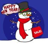 Cute cartoon snowman Stock Image