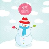 Cute cartoon snowman Christmas card. Stock Image