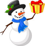 Cute cartoon snowman with gift Stock Photos