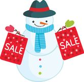 Cute cartoon snowman with sale bags. Holiday vector illustration stock illustration