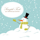 Cute cartoon snowman smiling Royalty Free Stock Image