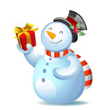 Cute cartoon snowman Stock Image