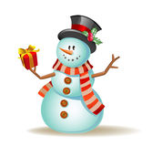 Cute cartoon snowman Stock Photo