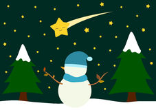 Cute cartoon snowman watching comet holidays illustration Stock Photo