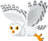 Cute cartoon snowy owl flying. Vector illustration of cartoon snowy owl flying isolated on white background Royalty Free Stock Image