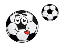 Cute cartoon soccer ball with a protruding tongue Royalty Free Stock Photos