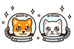 Cute cartoon space cat and dog. Drawing. Kawaii anime style puppy and kitty in astronaut helmets, isolated vector illustration vector illustration