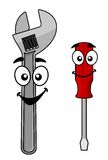 Cute cartoon spanner and screw driver Stock Photography