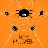 Cute cartoon spider family on the web. Halloween card. Flat design Royalty Free Stock Photo
