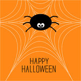 Cute cartoon spider on the web. Halloween card. Royalty Free Stock Photography