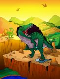 Cute cartoon spinosaur with landscape background. Vector illustration of a cartoon dinosaur Royalty Free Stock Photography