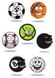 Cute cartoon sports balls mascot characters Royalty Free Stock Photos