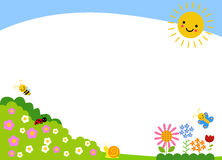 Cute cartoon spring background vector illustration