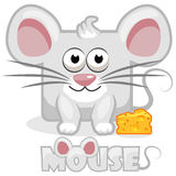 Cute cartoon square grey mouse and cheese Stock Photo