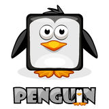 Cute cartoon square penguin Stock Images