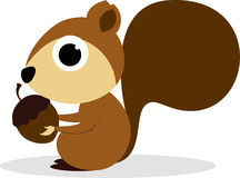 Cute Cartoon Squirrel Eating Peanuts Royalty Free Stock Images