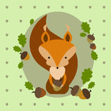 Cute cartoon squirrel with oak leaves and acorns Stock Images