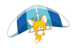 Cute cartoon squirrel parachuting Royalty Free Stock Image