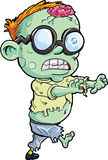 Cute cartoon stalking zombie. Isolated on white Stock Photography
