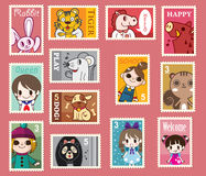 Cute Cartoon Stamps Royalty Free Stock Photo