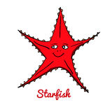 Cute cartoon starfish. Ocean animal vector illustration. Sea creature in a funny, hand drawn style Royalty Free Stock Image