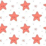Cute cartoon starfish seamless vector pattern background illustration. Cute cartoon starfish seamless pattern background illustration Stock Image