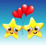Cute cartoon stars in love with heart balloons Stock Images