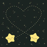 Cute cartoon stars in love in the night sky lovely romantic illustration Stock Photos