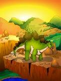 Cute cartoon stegosaur with landscape background. Vector illustration of a cartoon dinosaur Stock Photos