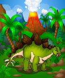 Cute cartoon stegosaurus. Vector illustration of a cartoon dinosaur.  Royalty Free Stock Images