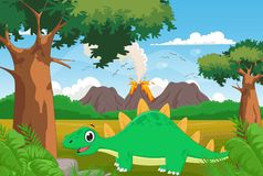 Cute cartoon stegosaurus with volcano background Royalty Free Stock Photos