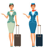 Cute cartoon stewardess with suitcase vector illustration