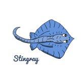 Cute cartoon stingray. Ocean animal vector illustration. Sea creature in a funny, hand drawn style royalty free illustration