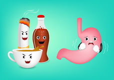 Cute cartoon stomach character fear acid of coffee Royalty Free Stock Photography