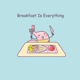 Cute cartoon stomach eat breakfast Stock Image