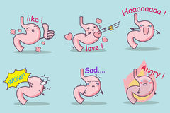 Cute cartoon stomach set Stock Image