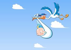 Cute cartoon stork and baby. A flying bird carrying a newborn baby, against a blue sky with white clouds with copy space stock illustration
