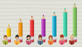 Cute cartoon students children reading books Royalty Free Stock Photography