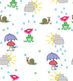 Cute cartoon style background of frogs, snails and mushrooms. In sunshine and rain Royalty Free Stock Photography