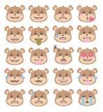 Cute cartoon style brown bear faces with different facial expressions, emoticon vectors set stock illustration