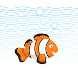 Cute cartoon style clown fish swimming underwater. Waves and bubbles. Trendy flat simple gradient vector illustration. EPS10 + JPEG preview Stock Photos