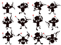 Cute cartoon style of cupid silhouettes Stock Photos
