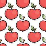 Cute cartoon style hand drawn red apple seamless pattern Royalty Free Stock Photography