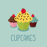 Cute cartoon-style illustration with three cupcakes. Royalty Free Stock Images