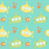 Cute cartoon submarines under the sea seamless pattern background illustration Royalty Free Stock Photography