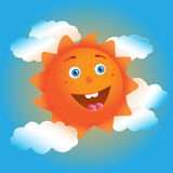 Cute cartoon sun in blue sky Stock Photo
