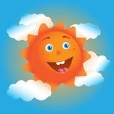 Cute cartoon sun in blue sky Stock Photo